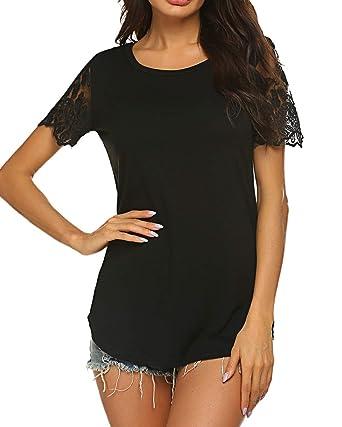 a6e3662d114bd5 Naggoo Women O Neck Short Sleeve Shirt Loose Casual Blouse Solid Tunic Tee Tops  Black,