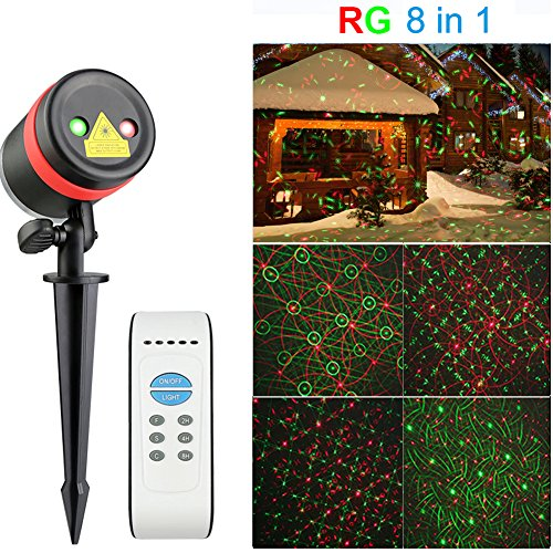 Christmas Laser Lights Outdoor - SurLight R & G 8 in 1 Patterns Waterproof Laser Projector Lights Landscape Lights for Christmas Decorations Outdoor Garden Holiday Decor, with IR Remote Control Timer by SurLight