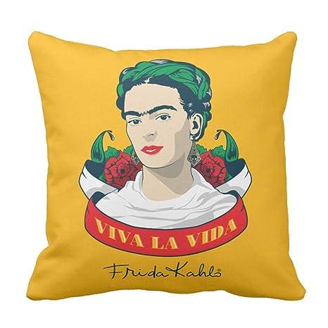 Meius Frida Kahlo Viva La Vida Throw Funda de cojín 18 x 18 ...