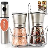 The Sapores Salt and Pepper Mill Set - 2 Adjustable Coarseness Grinder Mills/Shaker with Matching Stainless Steel Stand and Vinegar Sprayer