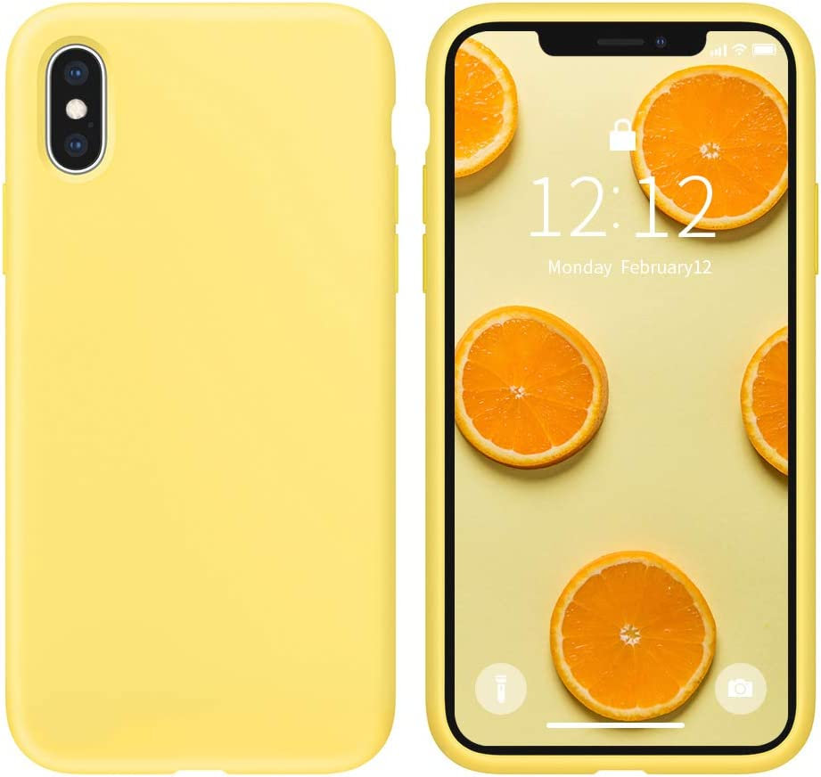 SOH Mingying Shockproof Phone Case Designed for iPhone X/XS, Full Body Protective Silicone Case Compatible with iPhone X/XS (5.8 inch)(Yellow)