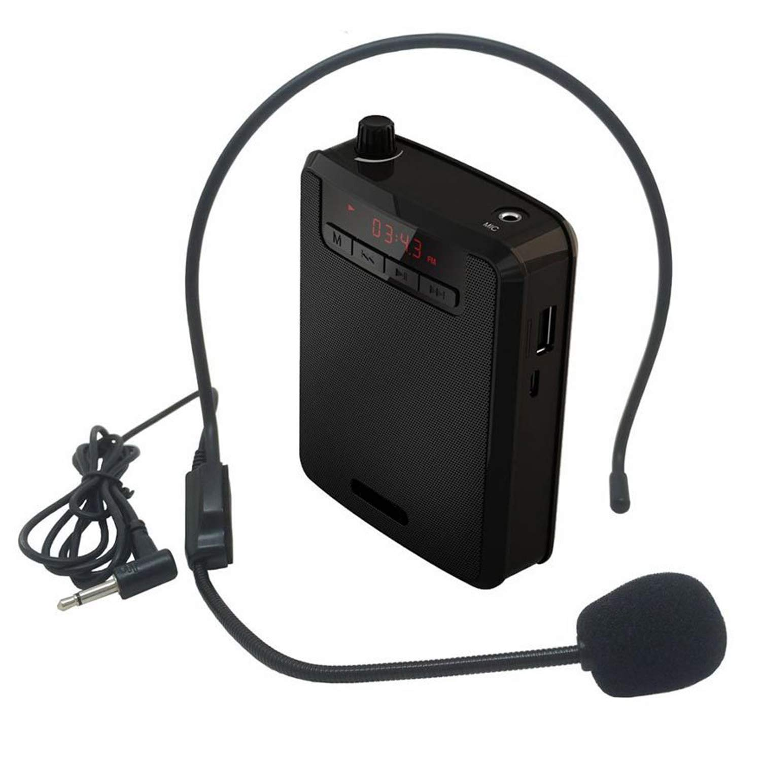 Portable Voice Amplifier Natural Stereo Sound Microphone Loudspeaker for Tour Guide Speech,FM Radio Function,Microphone with Earphone,Black