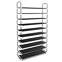 Bonnlo 10 Tiers Shoe Rack with Dustproof Nonwoven Fabric Cover Closet Shoe Storage Cabinet Organizer (Black without Cover)