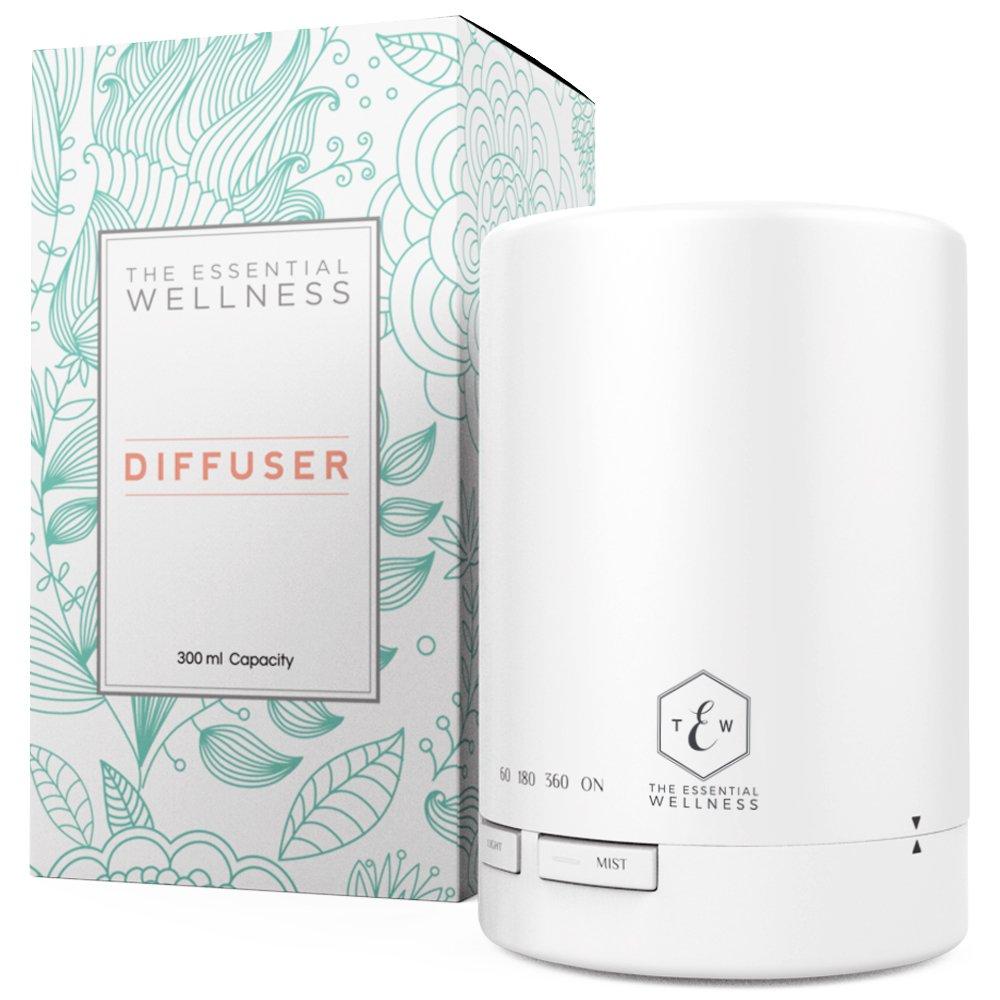Ultrasonic Diffuser - White Essential Oil Diffuser - Aroma Diffuser with Timer - BPA Free - Auto Shut Off 300ml