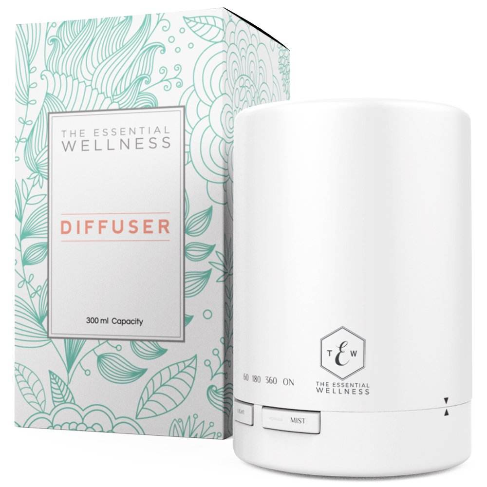 Ultrasonic Diffuser - White Essential Oil Diffuser - Aroma Diffuser with Timer - BPA Free - Auto Shut Off 300ml by The Essential Wellness