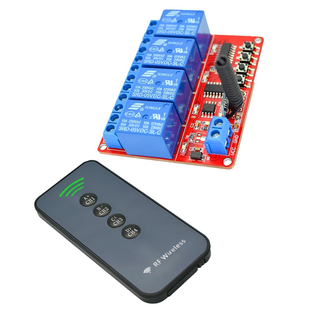 433M Switch Module Board 5V 4-way with RF 30m 4-Button Remote Controller