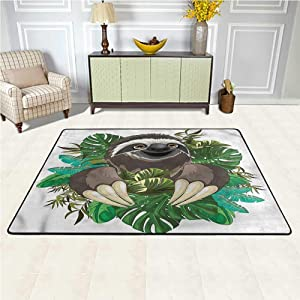 Area Rug Sloth, Cartoon Mammal Jungle Luxury Shag Carpets Suitable for Children Bedroom Home Decor 4 x 4 Feet