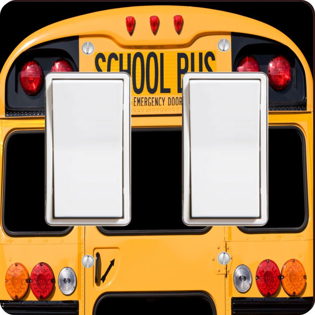 Rikki Knight 8879 Double Rocker Back of A Yellow School bus Design Light Switch Plate