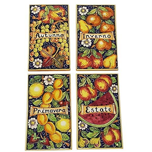 CERAMICHE D'ARTE PARRINI - Italian Ceramic Art Set Decorative Tile Pottery Fruit 4 Seasons Paint Hand Painted Made in ITALY Tuscan ()