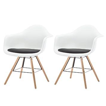 Chaise De Cuisine Design.Esituro Sdc0108 2 Lot De 2 Chaise De Cuisine Design Fauteuil Salon Salle A Manger Siege En Plastique Style Scandinave Noir Blanc