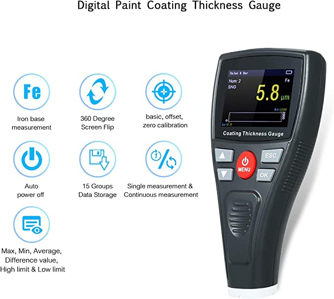 Coating Film Thickness Gauge Automotive Car Paint high-definition display WT2110
