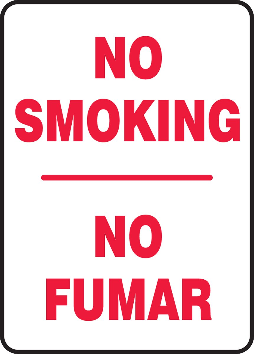 Accuform SBMSMK419VA Aluminum Spanish Bilingual Sign 20 Length x 14 Width Red on White Legend NO SMOKING//NO FUMAR