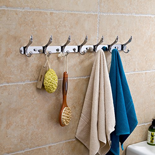 Stainless Steel Hooks Coat Hooks Bathroom Kitchen Fashion Pteris Thick Coat Hanger Wall Clothes Hook Towel Rack Bamboo Brass Cabinet