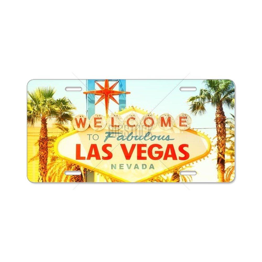 /Standard de plaque dimmatriculation CafePress Las Vegas Sign Voici laluminium/