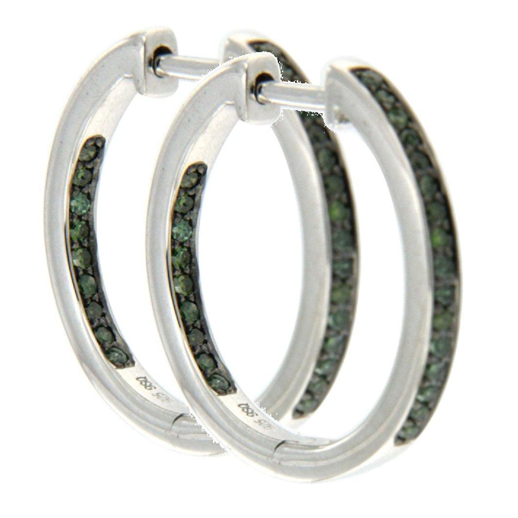 925 Sterling Silver Hoop Earring Goldenstar 0.25Ct Green Diamond Earring