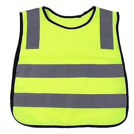 Kind Reflektierender Warnweste, Gelbe Sicherheits Schutz Warn schutzweste mit Klettverschluss für Kind Laufen Radfahren Bauen