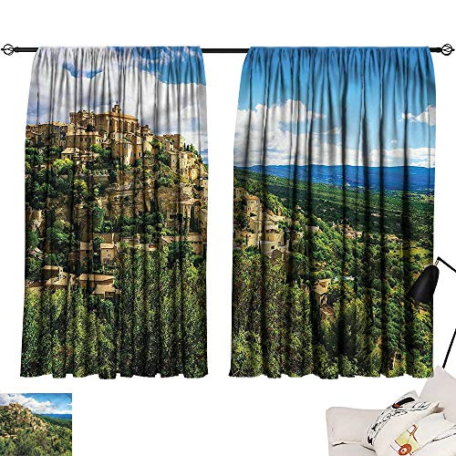 Jinguizi Privacy Assured Window Treatment Darkening Curtains Wanderlust,Gordes Medieval Village,Home Curtain Doorway W63 x L63