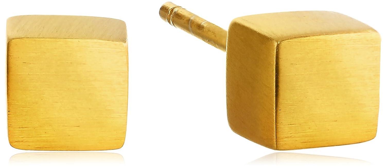 Satya Jewelry Tree of Life Cornerstone Cube Gold Plated Stud Earrings
