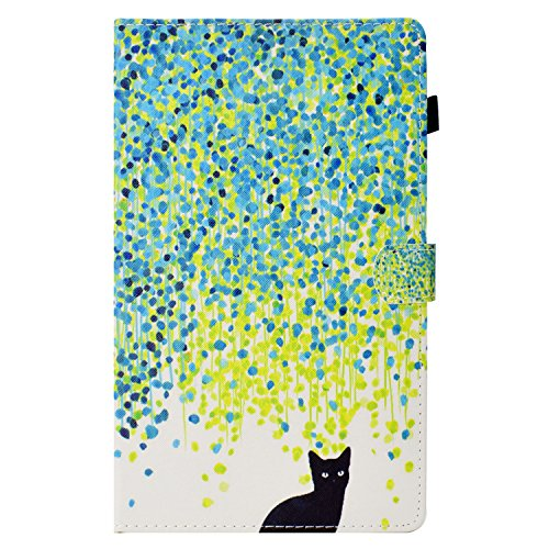 Kindle Fire HD 10 Case, Candy-Cases(TM) PU Leather Magnetic Cover Slim Folding Stand [Auto Wake/Sleep] Shell for Amazon Fire HD 10 Tablet 7th Generation 2017/ 5th Generation 2015 (Little Black cat)