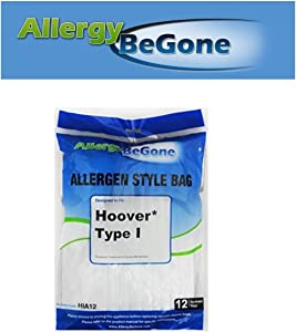 Allergy Be Gone Hoover I Synthetic Vacuum Bag - 12 Pack, by ABG for Hoover Platinum Canister UH30010COM. Compare to Hoover AH10005, 985059002