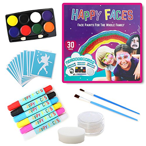 FACE PAINT SET: 30 Piece Kit Including Face Paints, Face Painting Pens, Brushes, Sponge, Stencils & Guide Book. Suitable For All (Dress As Book Character Ideas)