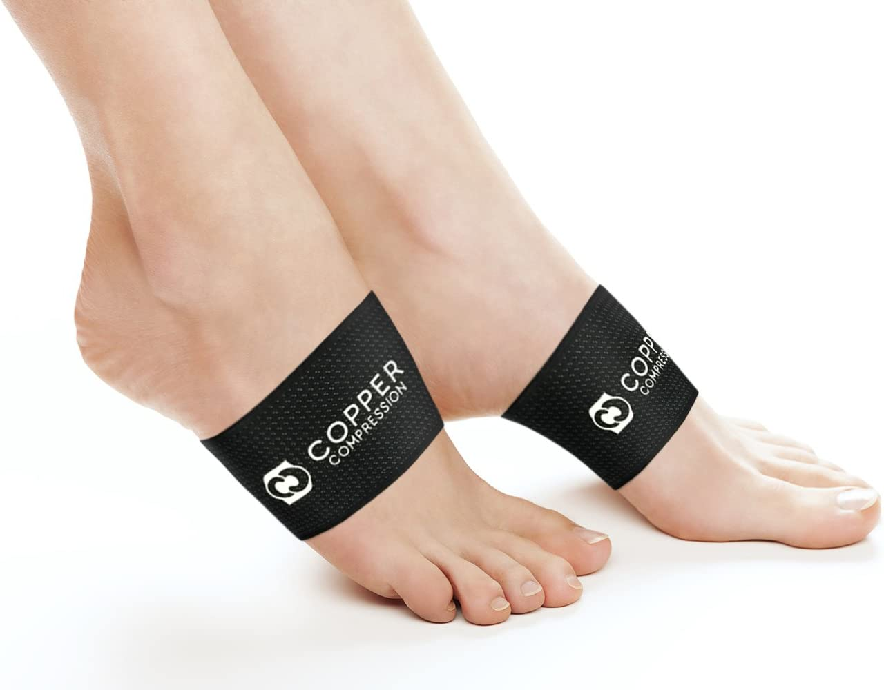 Copper Compression Copper Arch Support - 2 Plantar Fasciitis Braces/Sleeves. Guaranteed Highest Copper Content. Foot Care, Heel Spurs, Feet Pain, Flat Arches (1 Pair Black - One Size Fits All): Health & Personal Care