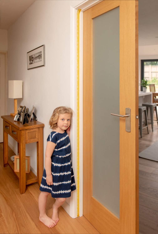Orange Sunburst Measure Me Roll-up Door Frame Height Chart for Boys and Girls