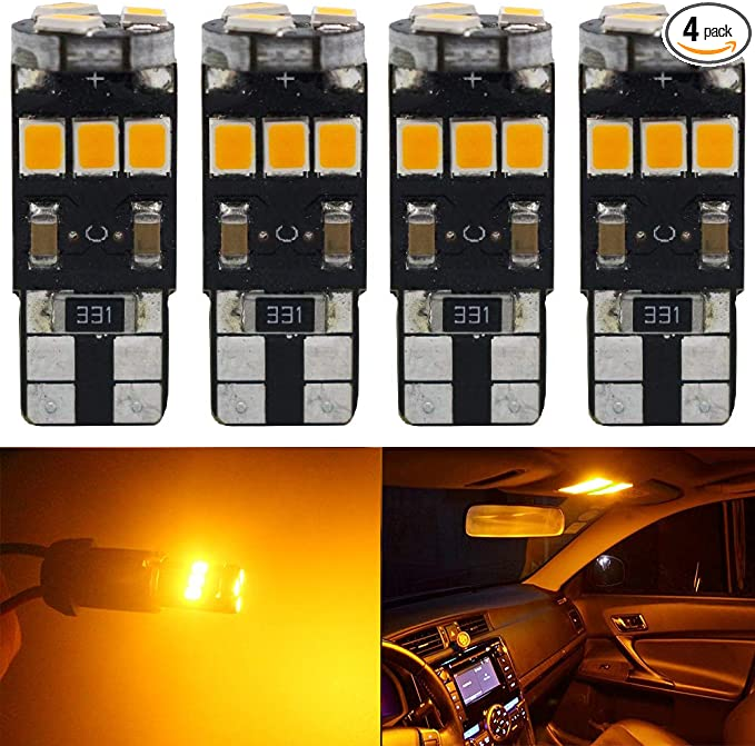 4 PC AUXITO Amber Yellow 168 194 921 License Side Marker Light Canbus LED Bulb A