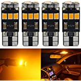 4-Pack T10 194 168 921 Amber/Yellow Extremely Bright Canbus Error Free LED Light 12V,9-SMD 2835 Chipsets Car Replacement…