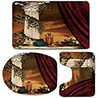 3 Piece Bath Mat Rug Set,Gothic,Bathroom Non-Slip Floor Mat,Greek-Style-Scene-Climber-Pillow-Fruits-Vine-and-Red-Curtain-Ancient-Figure-Sunset-Decorative,Pedestal Rug + Lid Toilet Cover + Bath Mat,Mul