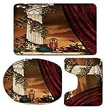 3 Piece Bath Mat Rug Set,Gothic,Bathroom Non-Slip Floor Mat,Greek-Style-Scene-Climber-Pillow-Fruits-Vine-and-Red-Curtain-Ancient-Figure-Sunset-Decorative,Pedestal Rug + Lid Toilet Cover + Bath Mat,Mul