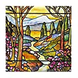 CafePress - Tiffany Landscape Window - Tile Coaster, Drink Coaster, Small Trivet