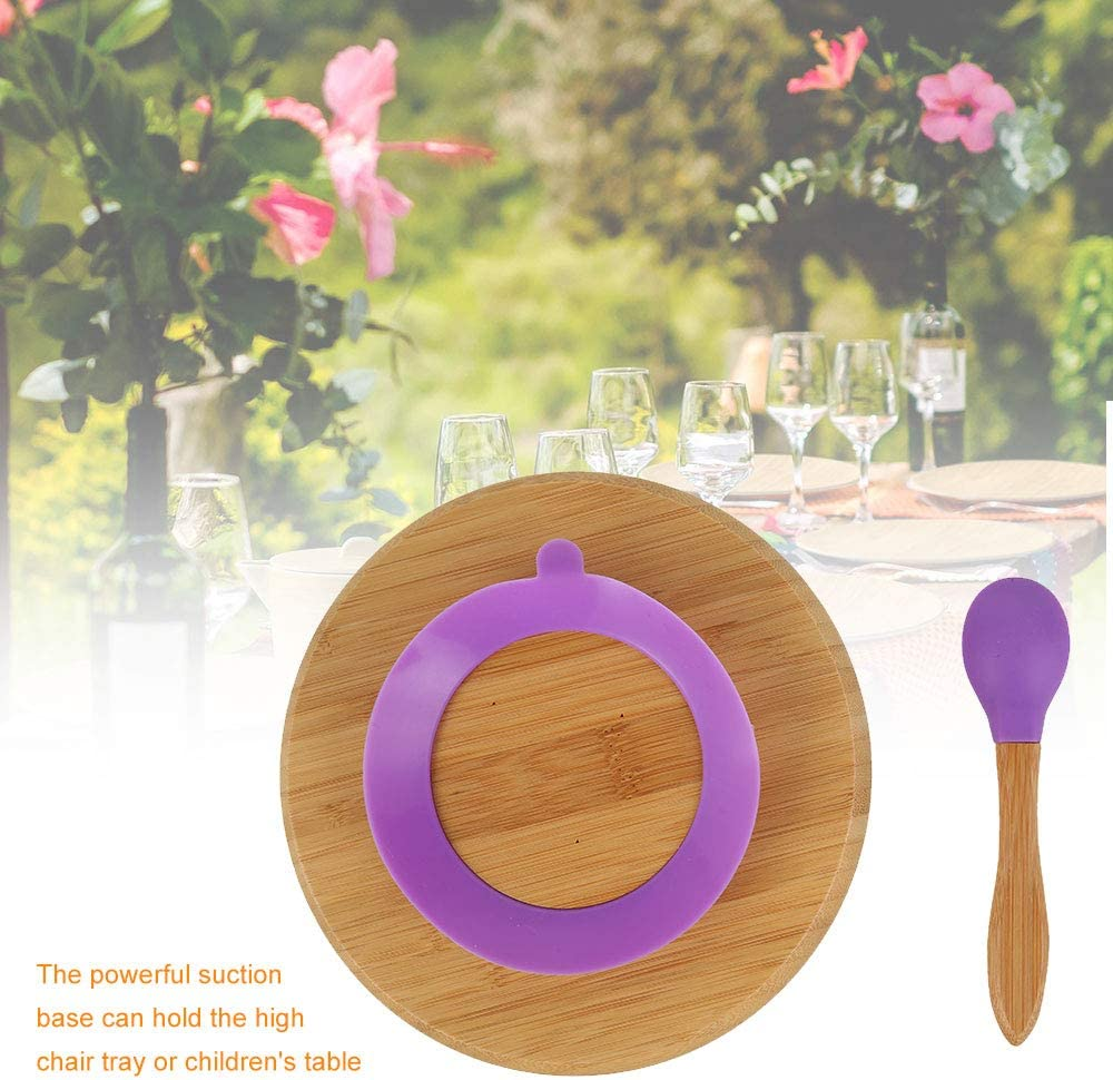 Orange Baby Toddler Dinner Plates Safety Non Slip Toddler Suction Plate Bamboo Plates Feeding Plate with Spoon