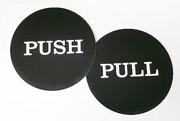 Black Meijiafei 4 Round Horizontal Push Pull Door Sign Push//Pull Set