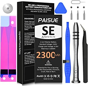 Battery for iPhone SE 1st Generation, PAISUE High Capacity 2300mAh Replacement Battery for iPhone SE 2016 Model A1723 A1662 A1724 with Complete Repair Tool Kit Adhesive and Instruction