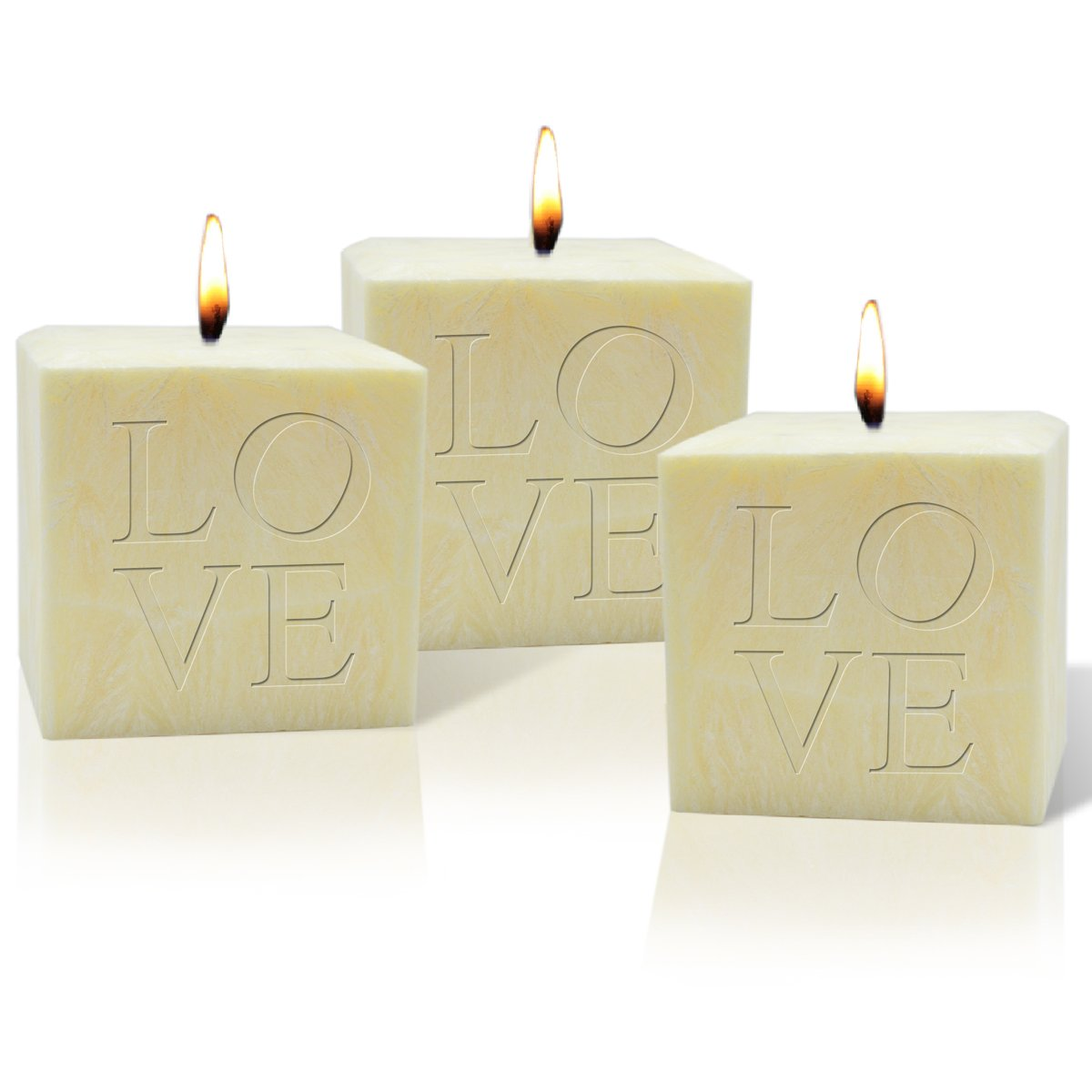 SET OF 3 - 4'' PALM WAX CANDLE : LOVE