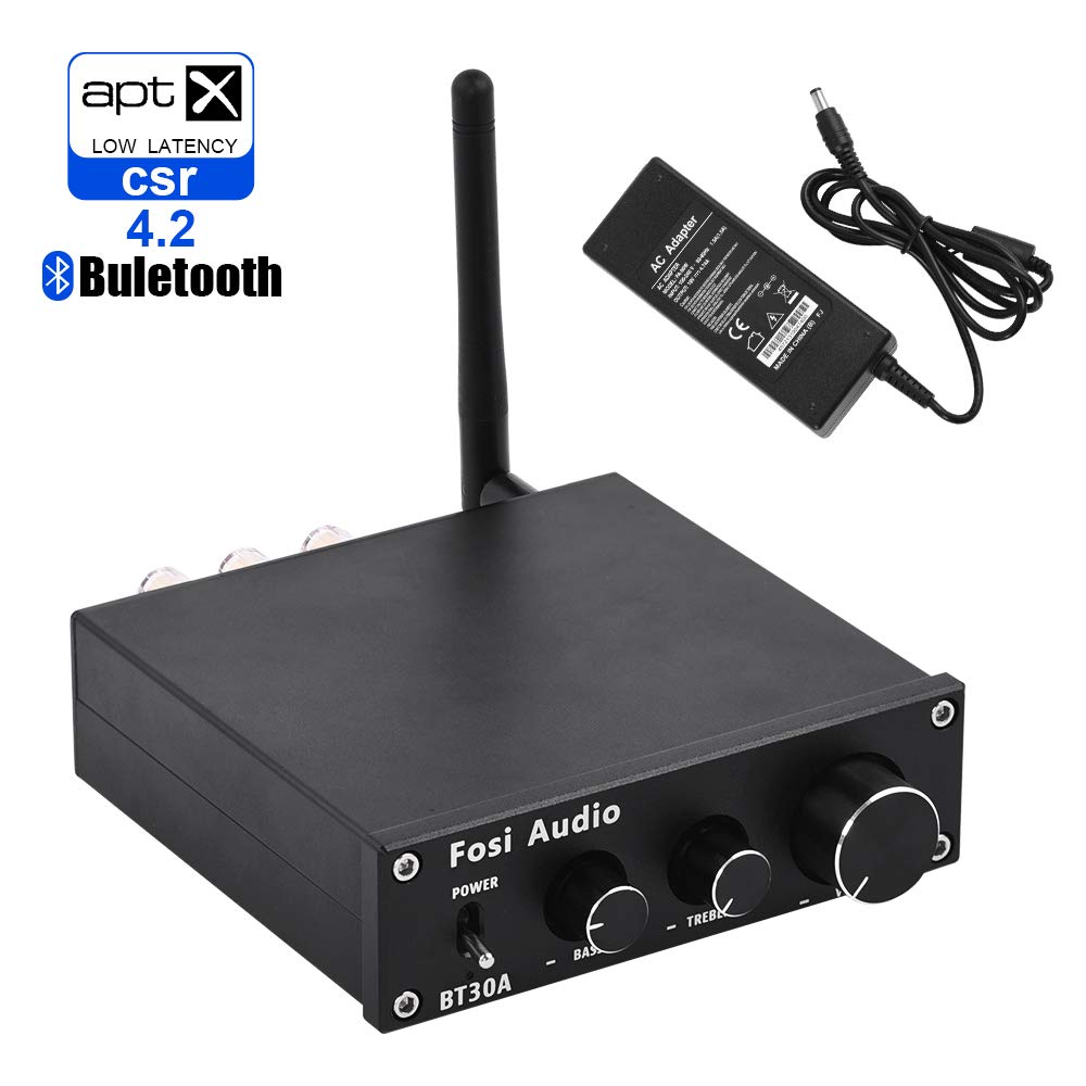 BT30A Bluetooth 4.2 Stereo Audio Amplifier 2.1 Channel Receiver Class D Mini Hi-Fi Integrated Digital Amp with Bass and Treble Control 50Watt x 2 + 100Watt x 1 for Home Passive Speakers Subwoofer