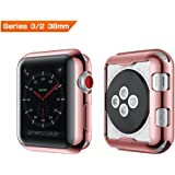 Apple Watch Series 2 3 38mm Soft Full Cover, Transparent TPU Crystal Clear All-around Screen Protector Ultra-thin Bumper Case for iWatch (Screen-Touch Available) - Rose Gold