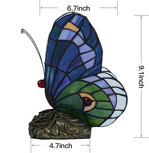 AphroditeL Tiffany Stained Glass Table Lamp Featuring a Beautiful Butterfly Resting on Flowers Forged into a Polished Antique Brass Finish Metal Lamp Base. The Perfect Gift