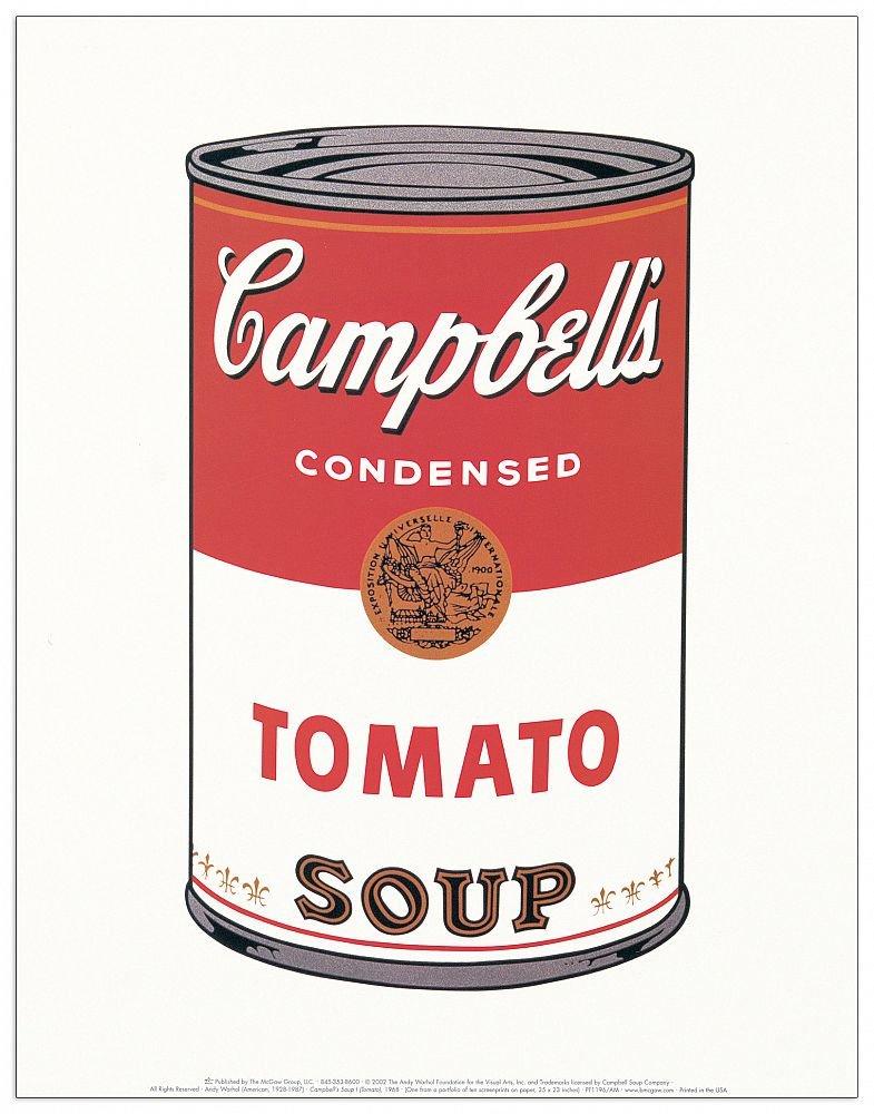 Artopweb EC40114 Pannello Decorativo, Warhol-Campbell's Soup (Tomato 1968), Legno,, 28 x 1.8 x 35 cm
