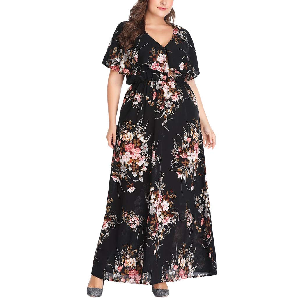 Women Empire Waist Maxi Dress - Ladies Batwing Cape Sleeve V Neck Plus Size Flare Swing Dresses - Elegant Floral Print Clothes (XXL, Black)