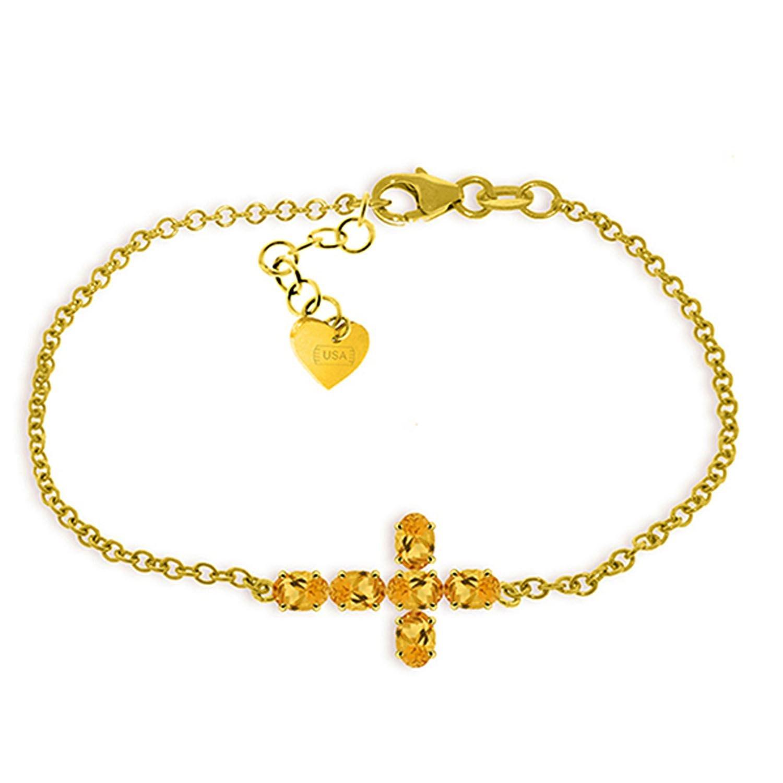 ALARRI 1.7 Carat 14K Solid Gold Cross Bracelet Natural Citrine Size 8.5 Inch Length