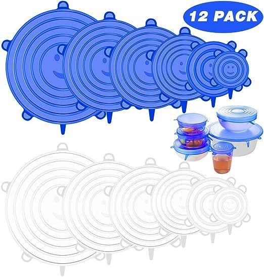 12 PCS Tapas Silicona El/ásticas, Tapas Silicona Ajustables Cocina, Reutilizable Fundas para Alimentos, Tazas, Boles, Tarros, Lavavajillas, Refrigerador(azul