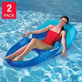 Kelsyus Floating Pool Lounger Inflatable Chair w/ Cup Holder Blue (2 Pack) 80014