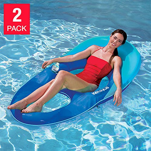 Kelsyus Floating Pool Lounger Inflatable Chair w/ Cup Holder