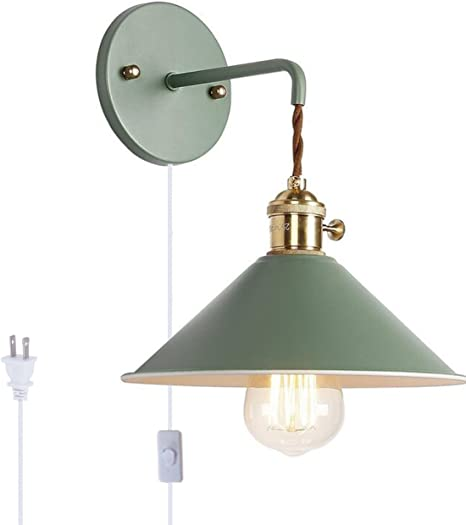 Kiven Nordic Wall Sconce One Cable Mains Plug And On Off Switch Green Macaron Bedside Reading Light E26 Edison Copper Lamp Holder Aisle Lights Frosted Paint Body Corridor Lamp Bathroom Vanity Lights