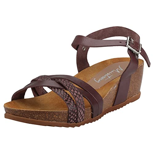 Mustang Multi Strap Wedge Donna Dark Brown Pelle Sandali 40 EU