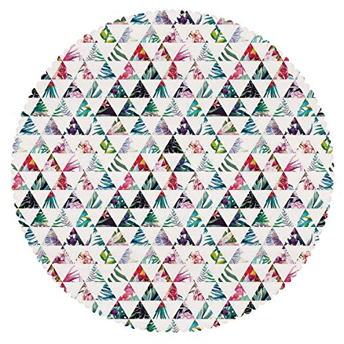 iPrint Stylish Round Tablecloth [ Watercolor,Tropical Exotic Triangles Abstract Geometric Pattern Palm Trees Jungle Leaves Decorative,Multicolor ] Fabric Home Decor Set