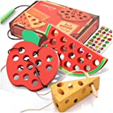 Lacing Toy for Toddlers, Fine Motor Skill Toys for 1 2 3 Year Old, Educational Learning Montessori Activity for Baby Kids, Car Plane Travel Games, Wooden Threading Toys 1 Apple,1 Watermelon, 1 Cheese
