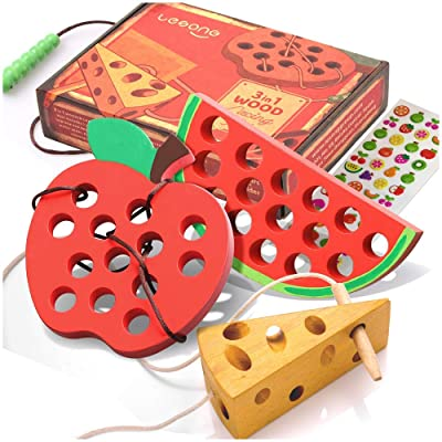 Buy Lacing Toy For Toddlers Fine Motor Skill Toys For 3 Year Old Educational Learning Montessori Activity For Baby Kids Car Plane Travel Games Wooden Threading Toys 1 Apple 1 Watermelon 1 Cheese
